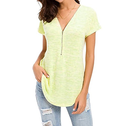 Net Tunic Beaded (POHOK Clearance Womens Loose Fitting Zip up V Neck Short Sleeve Tops Tunic Casual Shirt Blouse)
