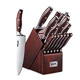 Knife Set, 15-Piece Kitchen Knife Set with Block Wooden, Manual Sharpening for Chef Knife Block Set, German Stainless Steel, ESMK (15 PCs Knife Block Set)
