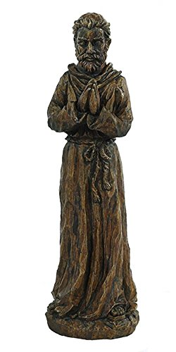 Solid Rock Stoneworks Small Praying St Francis Stone Garden Statue 22in Tall Espresso Color