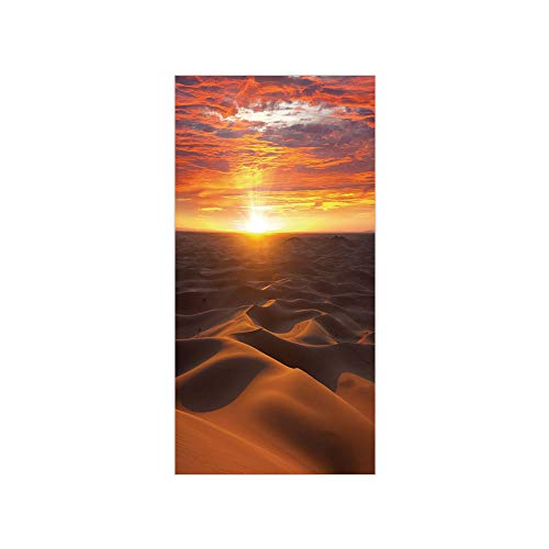 - 3D Decorative Film Privacy Window Film No Glue,Desert,Dramatic Sunset Scenery at Sahara Dunes Arid Landscape Morrocco Summer Nature,Gold Yellow Coral,for Home&Office