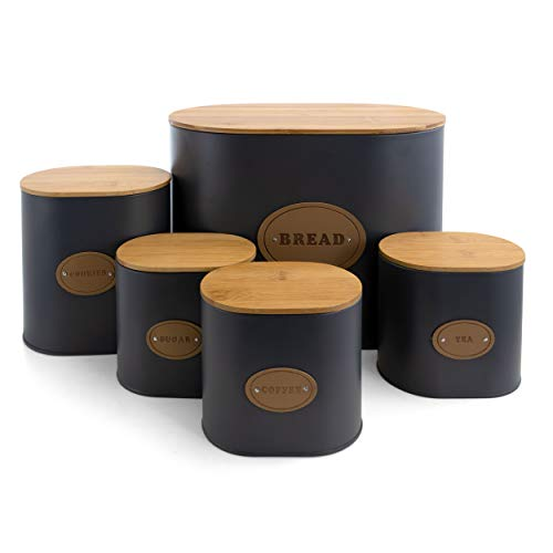 MegaChef Storage and Organization Food and Coffee Canister Set Collection, 5 Piece, Gray