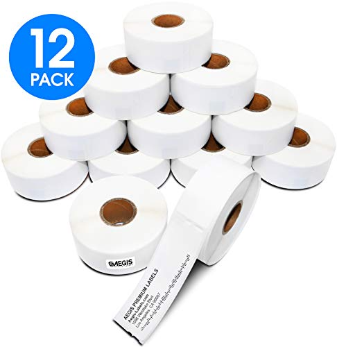 "Aegis Labels - 12 Rolls DYMO 30252 Compatible Address & UPC Barcodes 1-1/8"" X 3-1/2"" Replacement Labels for LW Labelwriter 450, 450 Turbo, 4XL (350/Roll)"