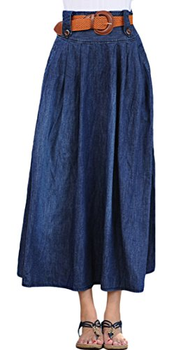 Youhan Women's Vintage Fitted Cotton Denim Pleated Long Maxi Skirt (X-Large, Blue)