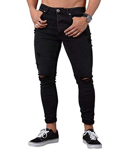Cher Pantalones Tamaños De Rten Los Knee Negro Pantalones Vaqueros Lavados Holes Rotos Hombres Los Vaqueros Cómodos Jeans Estirados De Azules Rasgados Pantalones Ropa Skinny Pantalones Vaqueros awaq0xrA