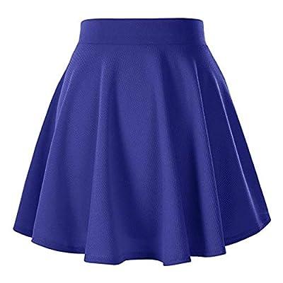 Naokenu Women Basic Flared Skater Mini Skirt High Waist Stretchy Casual Skirt