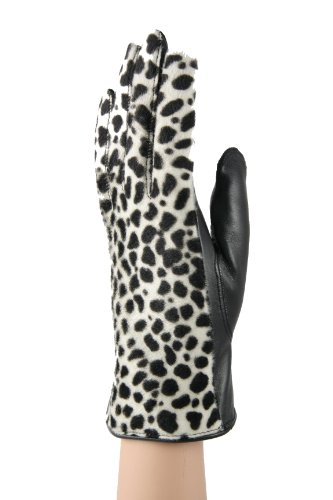 Gaspar手袋レディース高ファッション本革ブラック&ホワイトグローブ