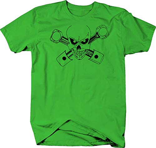 Novelty Inc Skull Crossbones Racing Engine Pistons Color Tshirt - Small Lime