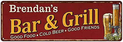 Brendan's Bar and Grill Red Personalized Man Cave Decor 6x18 Sign - Bar Brendan