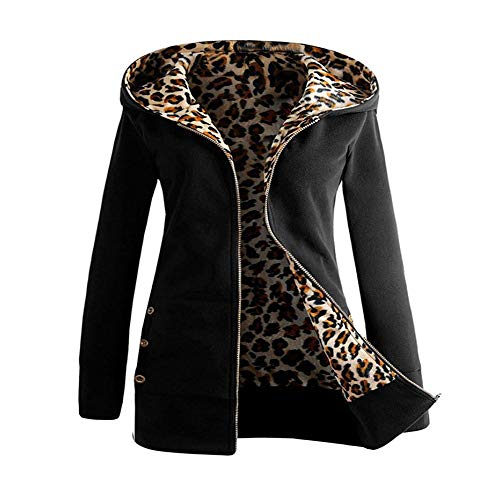 Leopard Print Belted Trench - GOVOW Leopard Print Tops for Women Plus Size Plus Velvet Thickened Hooded Sweater Zipper Coat(XL,Black)