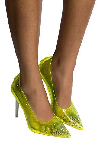 AKIRA Women#039s See Through PVC Bedazzled Rhinestone Pointed Toe Stiletto Heel PumpsNEON Lime_10