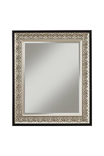 Sandberg Furniture 16017 Monaco Wall Mirror Antique Silver/Black,36 X - Black And Silver Mirror