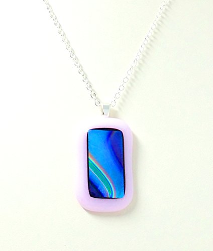 Fused Stained Glass Necklace - Light Pink Dichroic
