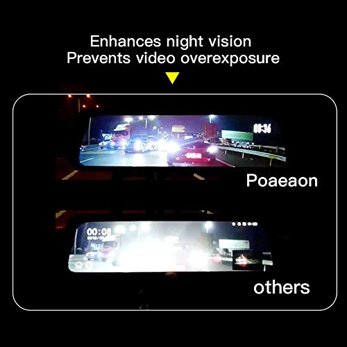 10 Inch Mirror Dash Cam Full Touch Screen, Poaeaon Backup Camera Stream Media, 1080P 170° Front and 1080P 150° Wide Angle Full HD Rear View Camera with G-Sensor, Night Vision (Free 32GB SD Card) by Poaeaon (Image #5)