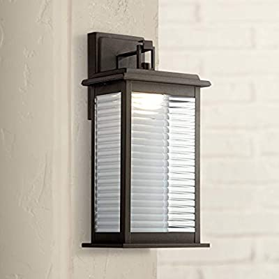 """Marguerite Modern Outdoor Wall Light Fixture LED Black Steel 14 3/4"""" Clear Ribbed Glass for Exterior House Porch Patio Deck - John Timberland"""