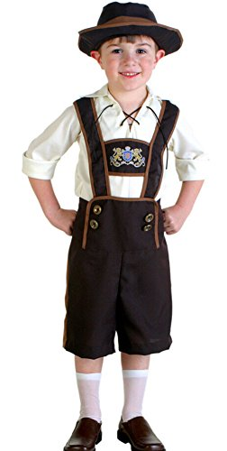 Paniclub Oktoberfest Costume Bavarian Kids Uniform Lederhosen Shorts with Shirt and Hat Large