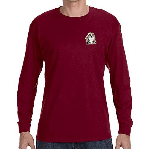 (Cherrybrook Dog Breed Embroidered Long Sleeve Mens T-Shirts - Small - Garnet - Shih Tzu)