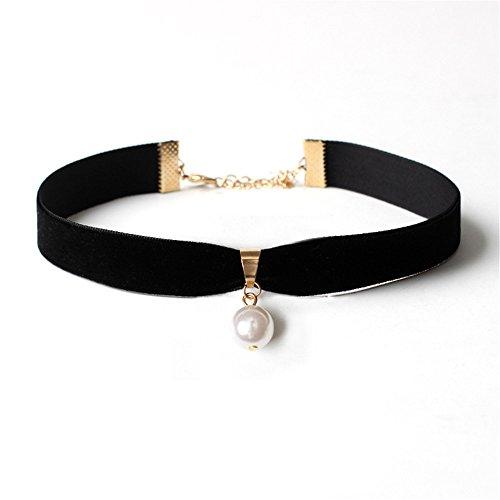 Tidoo Jewelry Classic Black Velvet Pearl Choker Necklace