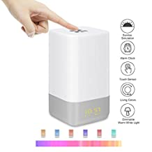 BEROSS Wake-Up Light Alarm Clock Touch Sensor Bedside Lamp Night Light Atmosphere Mood Light with 5 Natural Sounds and Sunrise Simulation Rechargeable LED Color Changing (Wake Up Light)