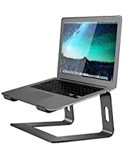Soundance Aluminum Laptop Stand for Desk Compatible with Mac MacBook Pro Air Apple Notebook, Portable Holder Ergonomic Elevator Metal Riser for 10 to 15.6 inch PC Desktop Computer, LS1 Black