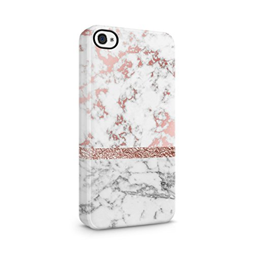White & Rose Gold Marble Hard Plastic Phone Case For iPhone 4 & iPhone 4s
