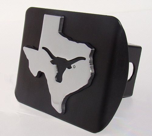 UTX University of Texas 'Black with Chrome Debossed TX State Shape Longhorn Emblem' Metal Trailer Hitch Cover Fits 2 Inch Auto Car Truck Receiver with NCAA College Sports Logo Elektroplate UTX-DEB-BLK-HRC