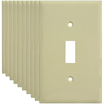 toggle light switch wall plate ivory 1gang 10 pack
