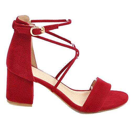 AIYOUMEI Offene Sandalen Damen mit Absatz Knöchelriemchen Sandalen mit 6cm Absatz Bequem Sommer High Heels Schuhe NNGzp2p1zT