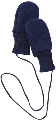 Disana Baby Girls' Organic Boiled Wool Gloves/ Mittens With Thumbs 12-24M Navy -