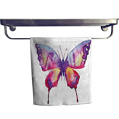 (HoBeauty home Sports Ttowel,Painting in Leaking Paintbrush Colors Spirit Animal Hippie Image Magenta Violet ,Ultra Soft, Cozy and Absorbent W 12