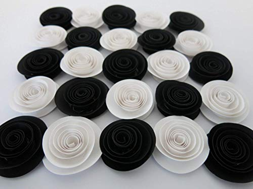 Black & White Bridal Shower Decorations, 24 Paper Roses Set, 1.5