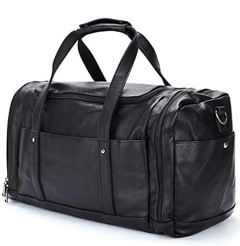 レザーポータブルメンズトラベルバッグ近距離大容量スポーツとフィットネスバッグ防水多目的デザインブラック HMMSP