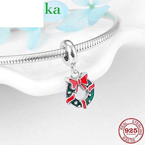 Wreath Sterling Silver Round - Christmas Wreath Bow Enamel Charms 925 Sterling Silver Round Necklace Pendant Fit Original Charm Bracelet Jewelry Making