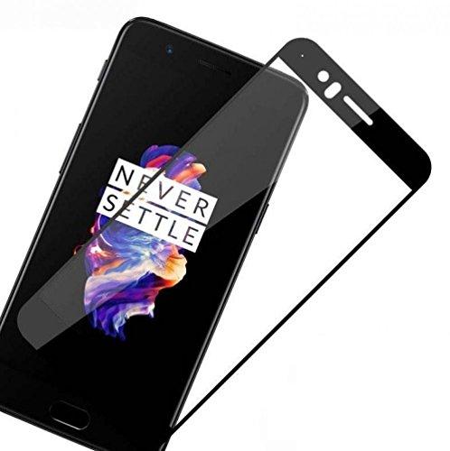 Dashmesh Shopping OnePlus 5 Full Coverage Tempered Glass Screen Protector, [Edge To Edge Full Screen Covered - Sapphire Black