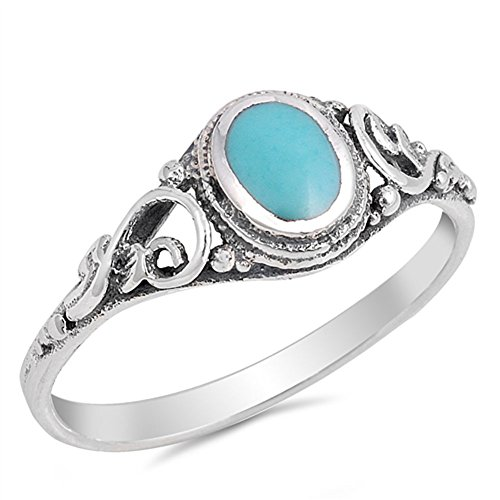 Filigree Simulated Turquoise Cute Ring New .925 Sterling Silver Band Size 9