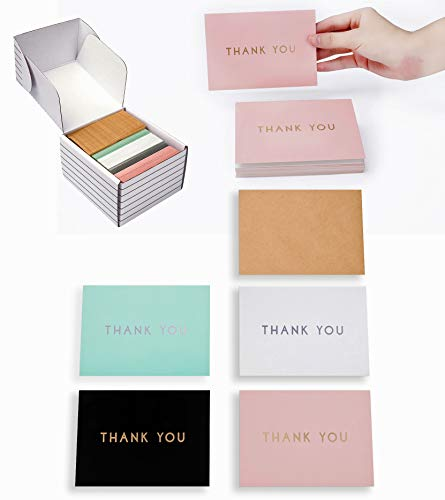 "(OUTSHINE 100 Blank Thank You Cards with Envelopes | Bulk Gratitude Note Cards in Storage Box | 3.5"" x 5"" Cute Notecards for Wedding, Baby or Bridal Shower, Graduation (Black,)"