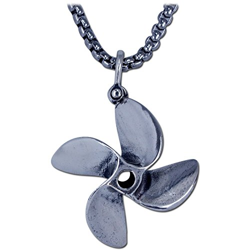 Boats Speed Fountain (KeyLimeBay 4 Blade Boat Propeller Pendant Crafted in Sterling Silver on a 22