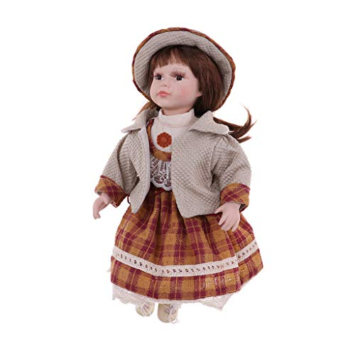 Fityle 40cm Porcelain Doll Victorian Lady in Dress Gown People Figure Vintage Dollhouse Miniature