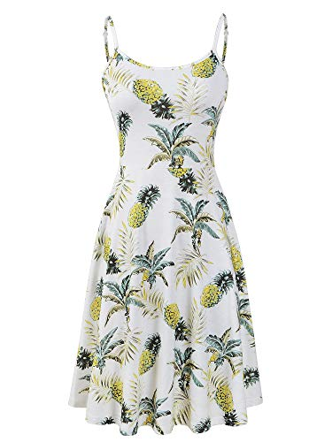 Luckco Women's Sleeveless Adjustable Strappy Summer Floral Flared Swing Dress (Small, ()