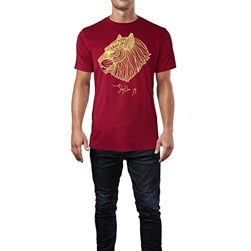 SINUS ART ® Kopf eines Löwen im Ethno Stil Herren T-Shirts in Independence Rot Fun Shirt mit tollen Aufdruck