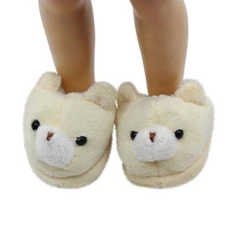 American Girl Musical Doll - HP95(TM) Cute Animal Plush Slippers Keep Warm Shoes for 18 Inch American Girl Doll (Beige)