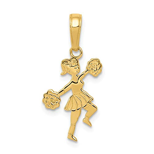 14k Yellow Gold Cheerleader Pom Poms Pendant Charm Necklace Sport Cheerleading Fine Jewelry Gifts For Women For Her