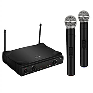 elegiant vhf wireless microphone system with 2 handheld mics dual channel karaoke. Black Bedroom Furniture Sets. Home Design Ideas