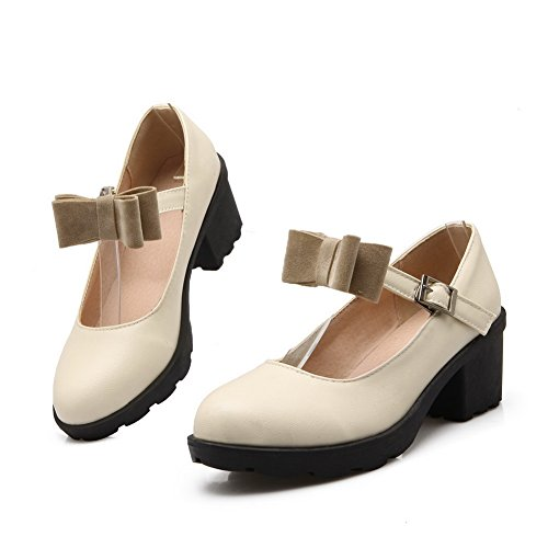 Balamasa Ladies Tacco Grosso Con Fibbia Platform Urethane Pumps-shoes Beige