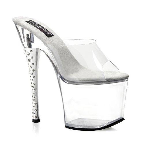 Summitfashions 7 Inch Sexy High Platform Rhinestone Heel Clear Stripper Shoes Size: -