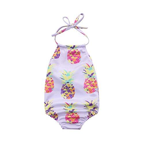 (Mornbaby Baby Girl Swimsuit Pineapple Backless Halter Swimwear Sunsuit Summer Beachwear Outfit (Pineapple,)