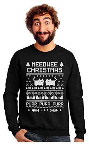 TeeStars - Meeowee Christmas Ugly Sweater - Cute Xmas Party Sweatshirt XX-Large Black (2019 Christmas Jumper)