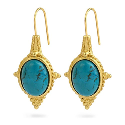 Etruscan Gemstone Earrings - Matte Gold Finish Egyptian Etruscan Revival Blue Turquoise Drop Earrings 1 1/2