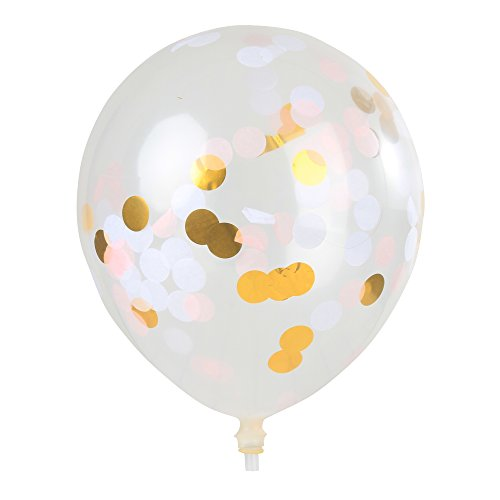 12''Confetti Balloons clear Latex Balloon Paper Balloons Paper Confetti Inside for Wedding or Party Decorative(20PC,3 colors metallic gold/ pink/ white) 12' Metallic Latex Balloons