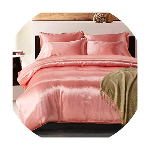 - The fairy 2Pcs/3Pcs/4Pcs Nordic Style Silk Bedding Set Queen Size Satin Grey Duvet Cover Solid Color Set Simple Beautiful Bedclothes,04,Us King 3Pcs