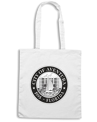 T-Shirtshock - Bolsa para la compra TM0031 City of Aventura Florida1 citta Blanco